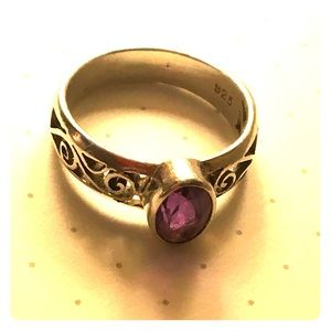 Amethyst ring with silver filigree